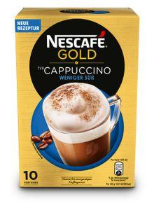 Nescafé Gold Typ Cappuccino weniger süß | löslicher Kaffee | 10 Portionen