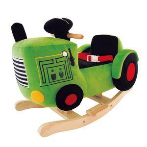 Bieco Plüsch Schaukeltier Traktor 60 cm   Kinder Schaukelstuhl mit Sicherheitsgurt   Baby Schaukel   Schaukel Kleinkind   Schaukeltier Baby Zimmer   Baby Schaukelwippe ab 9 Monate   Schaukelpferd Holz
