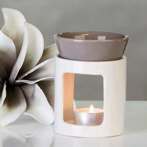 Casablanca Duftlampe Aromabrenner DUO aus Keramik · weiß/grau Höhe 11 cm · Ø 8,5 cm 26998