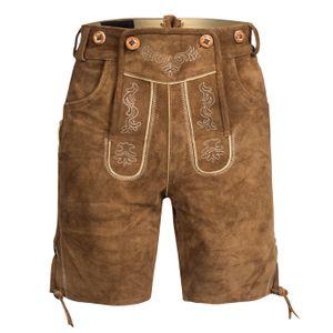 Trachten Lederhose Bundhose kurz mit Trägern aus Rindveloursleder Hellbraun 56