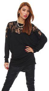 9009 Mississhop Damen Longshirt langarm Tunika Langarmshirt leichtes Shirt mit Spitze Schwarz L