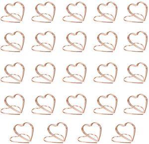 24 Stück Tischkartenhalter Herz Fotohalter Platzkartenhalter Memohalter Tischkarten Name Halter Bilder Clip Rosegold für Hochzeit Party Büro Restaurant