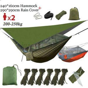 Camping 2 Personen Hängematte Moskitonetz Hammock Stabhängematte + UV Zeltplane