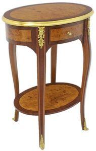 Casa Padrino Barock Beistelltisch Dunkelbraun / Hellbraun / Gold 50 x 35 x H. 75 cm - Ovaler Massivholz Tisch mit Schublade - Barock Wohnzimmer Möbel