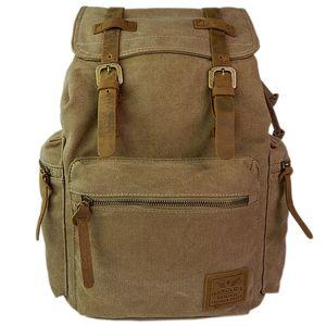Canvas Rucksack mit Laptopfach 15,6 Zoll - Backpack Uni - Wanderrucksack Herren und Damen Daypack