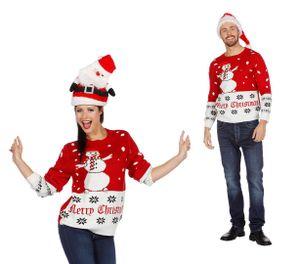 Wilbers Weihnachtspullover Schneemann rot-weiß  Gr. L -  Weihnachten Pulli