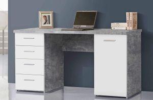 Schreibtisch NETBOB, 1-trg, 4 Schubladen, Beton Optik / Weiß von Forte