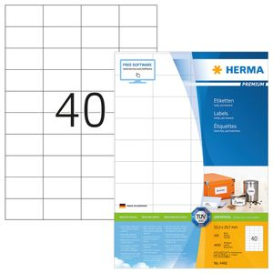 Etiketten Premium A4, weiß 52,5x29,7 mm Papier matt 4000 St.
