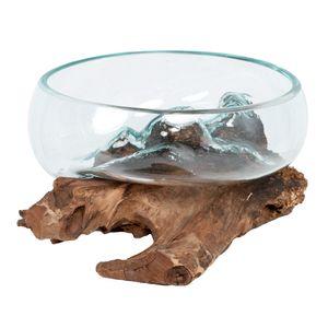 Deko-Glas DROP-7 Teak Vase Schale Handarbeit