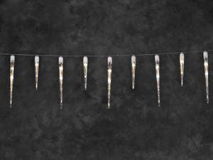Konstsmide - LED Eiszapfen Lichtervorhang, 32 Zapfen, 48 warm weiße Dioden, 24V Außentrafo, weißes Kabel ; 2736-102