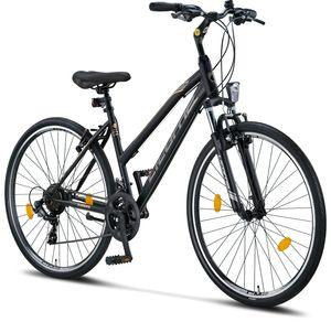 Licorne Bike Life-L-V Premium Trekking Bike in 28 Zoll - Fahrrad für Jungen, Mädchen, Damen und Herren - Shimano 21 Gang-Schaltung - Mountainbike - Crossbike, Farbe: Schwarz/Grau, Zoll:28.00