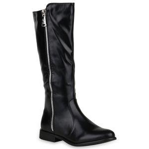Mytrendshoe Klassische Damen Stiefel Leicht Gefütterte Schuhe 818963, Farbe: Schwarz, Größe: 36