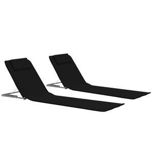 Huicheng 2x Klappbare Strandmatte Gepolstert mit Rückenlehne aus Stahl und Stoff Schwarz