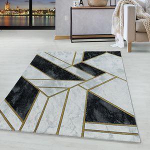 Kurzflor Design Teppich Wohnzimmerteppich Marmor Muster Abstrakt Linien Gold, Farbe:Gold, Grösse:140x200 cm