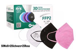 Meiyi 100 Stück FFP2 Maske  Mundschutzmaske / Mund-Nasenschutz Masken Atemschutzmaske mit CE1463   50Weiß+25Schwarz+25Rosa