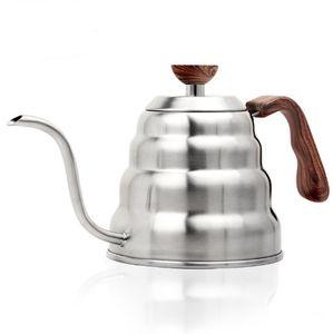 Kaffeekanne aus Edelstahl 304, Griff aus Edelstahlholzmaserung Kaffeewolkenkanne
