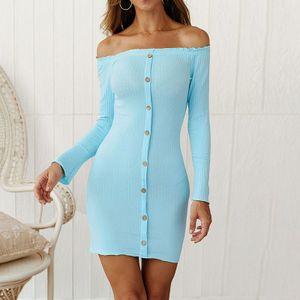 Frauen-Winter-Weinlese strickte Kleid weg von der Schulter-eleganten Backless Pullover-beilaeufigen MiniPartei-Kleid