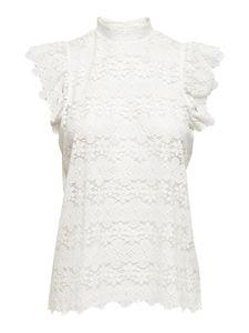 JDY Damen Spitzen Oberteil JDYBLOND Basic Lace Shirt Kurzarm Blumen Top Sommershirt Bluse , Farben:Weiß, Größe:34