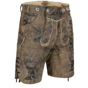 PAULGOS Herren Trachten Lederhose kurz - HK4 ANTIK - Echtes Leder - in 3 Farben erhältlich - Größe 44 - 60, Farbe:Whiskybraun, Größe:52