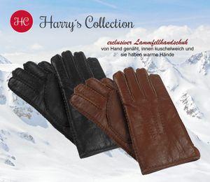 Handschuh aus echtem Lammfell handgenäht  Nappaleder, Farben:schwarz, Handschuhgröße:M