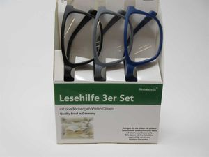 3er Set Lesebrille +3,0 SIE & IHN mit großer Sichtfläche Lesehilfe Fertigbrille