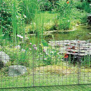 1PLUS Teichzaun Gartenzaun Campingzaun Set in verschiedenen Designs und Ausführungen, Farbe:Grün, Set:5x, Bogen:Oberbogen
