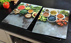 Kesper 2 er Set XL Herdabdeckung Glas 50 x 38,5 Herdabdeckplatte Healthy Kitchen