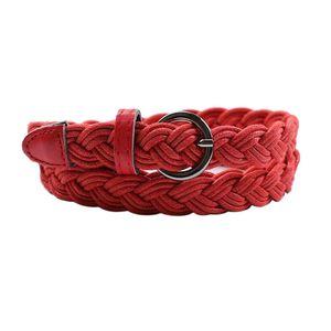 Ledergürtel Leder Gewebte Damengürtel Damen Gürtel mit Metallschnelle, Frauen Accessoire leather Farbe rot