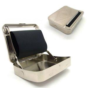 Tabakdose mit integriertem Wickler Zigaretten Etui Drehmaschine Tabak Box Chrom
