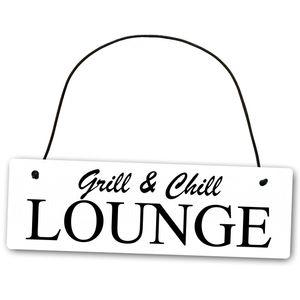 Metallschild Grill and Chill Lounge 25 x 8 cm aus Alu Verbund (Alu, Kunststoff) für In- und Outdoor Deko Schild Dekoschild Wandschild außen und innen