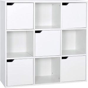 Meerveil Bücherschrank Bücherregal Aufbewahrungsregal 9 Fächer mit 5 Türen moderner Stil Geeignet für Büro Arbeitszimmer Wohnzimmer Korridor und andere Räume weiß