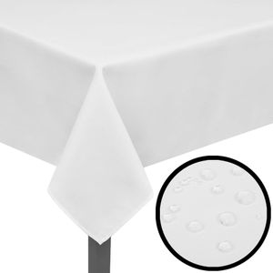 5 Tischdecken Tischwäsche Tischtuch abwaschbar Weiß 220 x 130 cm