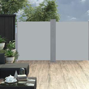 170 x 600 cm Ausziehbare Seitenmarkise Doppelt Sonnenschutz Windschutz für Balkon Terrasse Garten Anthrazit