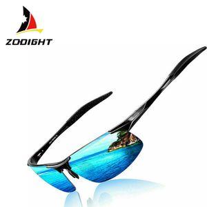 Zodight Herren Polarisierte Treiber Glasses Sportbrille Sonnenbrille Al-Mg Metallrahme Ultra leicht   Schwarzer Rahmen blau