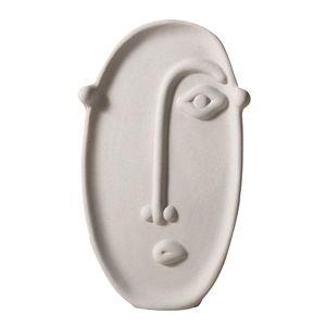 1 Stück Keramik Vase Ornament Weiß Art-Deco-Stil Keramikvase Gesicht 12 x 19,5 cm