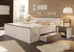 LUCA Bettanlage Bett Schlafzimmerbett + 2 Nachtkästchen Pinie Weiß / Trüffel