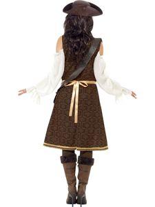 Smiffy's - Damen Hochsee Piratin Kostüm, Kleid, Hose und Bandelie, Größe:L