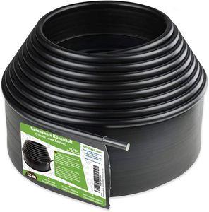 Flexible Rasenkante Kunststoff mit runden Oberkante 12 m, schwarz - Robustes Stay-in-Place Design, Verhindert das Durchwachsen von Rasen, aus Plastik
