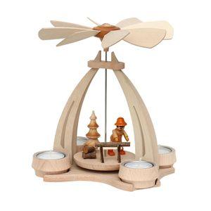 72 0016 Holz Teelicht-Tischpyramide Waldleute mit Säge SIGRO