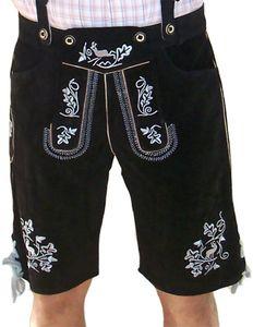 Miesbacher kurze Trachten Lederhose mit Hosenträger Trachtenhose Schwarz/Silber, Größe:60/4XL