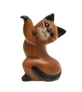 Katze, springend, rechts, Holz, Holzfigur