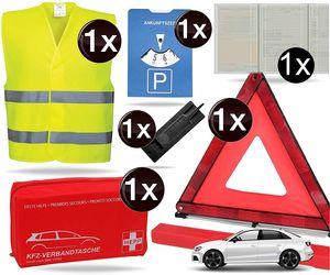 8 in 1 Sicherheitsset 2021 Auto KFZ Warnweste, Warndreieck, Verbandskasten, Parkscheibe, Etui- Pannenset, Rettungsdecke - Erste Hilfe bei Unfall