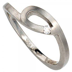 JOBO Damen Ring 950 Platin mattiert 1 Diamant Brillant 0,04ct. Größe 56