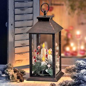Outdoor Laterne mit 3 flackernden LED Kerzen und Timer Batteriebetrieb