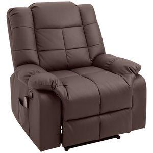 HOMCOM Massagesessel, Fernsehsessel, Relaxsessel mit Massagefunktion, Heizfunktion, Liegefunktion, Kunstleder+MDF+Metall+Schaumstoff, Braun, 90 x 97 x 99 cm