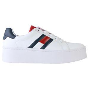 Tommy Hilfiger Flatform-Ledersneaker Damen Weiß (EN0EN00876 020) Größe: 41