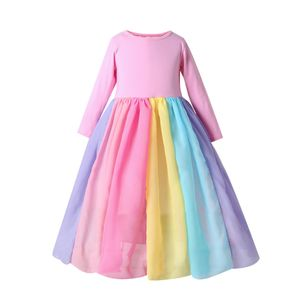 Maedchen-Regenbogen-Kleid Prinzessin Dress Colorful Tulle OP Pink 130