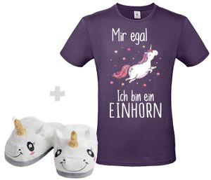 Einhorn Set Unisex T Shirt Lila , Größe wählen:XL, Schuhgröße wählen:40/41