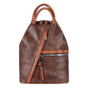 OBC Damen Rucksack Tasche Schultertasche Leder Optik Daypack Backpack Handtasche Tagesrucksack Cityrucksack Braun-Cognac