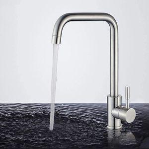 Küchenarmatur 360° drehbar Wasserhahn Küche edelstahl Spültischarmatur mit Hoher Auslauf (260mm) Mischbatterie Küche Armatur